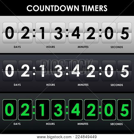 Gray, black, green counter. Set of countdown timers in three different mockups. Flip countdown timer. Vector illustration