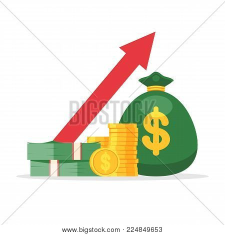 Money in a bag, a pile of coins and bills and an up arrow. Financial performance, improving business performance, budget planning, the concept of revenue growth. Vector illustration isolated on white background