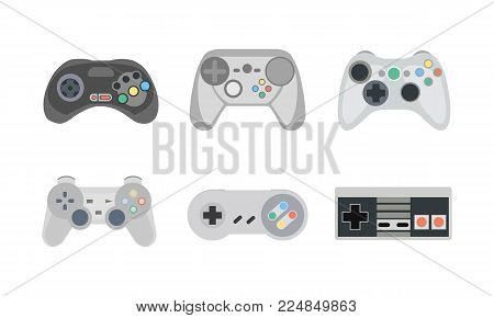 Gamepads and joysticks. Retro gamepads and joysticks icons isolated on white background. Console for video game. Vector illustration poster