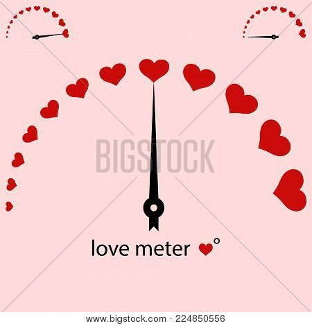 love meter, meter power love heart, Valentine Vector design element, measuring the scale of red hearts