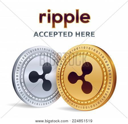 Ripple. Accepted sign emblem. Crypto currency. Golden and silver coins with Ripple symbol isolated on white background. 3D isometric Physical coins with text Accepted Here. Stock vector illustration