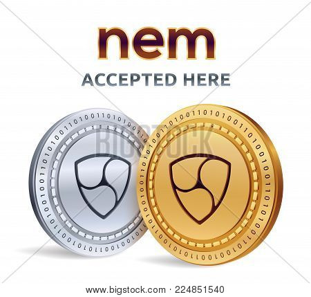 NEM. Accepted sign emblem. Crypto currency. Golden and silver coins with NEM symbol isolated on white background. 3D isometric Physical coins with text Accepted Here. Stock vector illustration