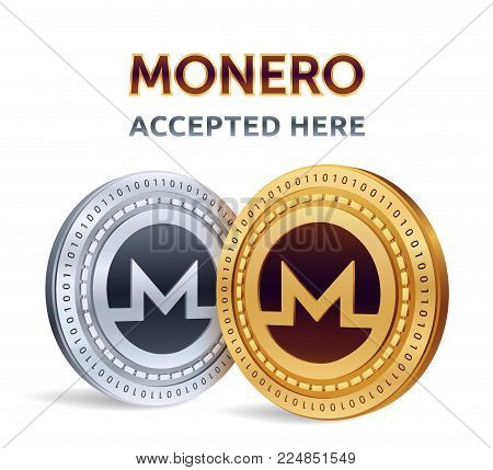 Monero. Accepted sign emblem. Crypto currency. Golden and silver coins with Monero symbol isolated on white background. 3D isometric Physical coins with text Accepted Here. Stock vector illustration