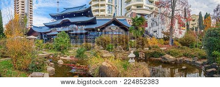SOCHI, RUSSIA - NOVEMBER 28, 2015: A pond in the garden of Russian-Japanese friendship.