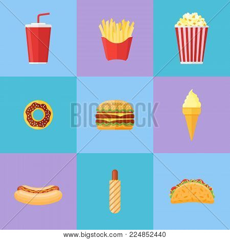 Set of fast food flat icons. Donut, hamburger, french fries, popcorn, soda takeaway, ice cream, hot dog and taco. Vector illustration.