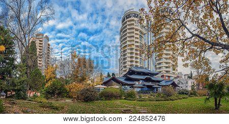 SOCHI, RUSSIA - NOVEMBER 28, 2015: Panorama of the Garden of Russian-Japanese Friendship.