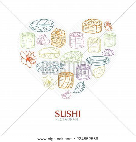Heart background with sushi and rolls. Japanese traditional cuisine illustration. Vector with love.
