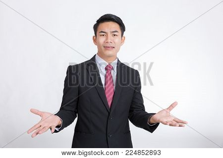 Businessman and refuses the proposal isolated on white background.