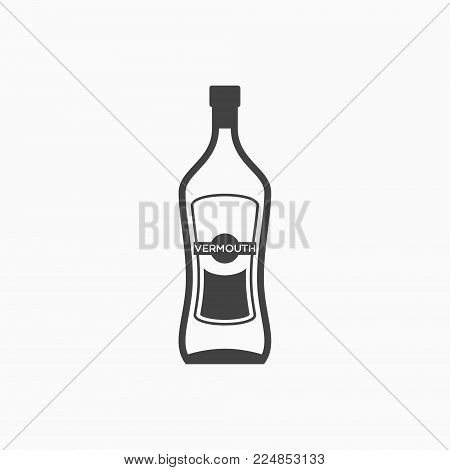 Bottle of vermouth monochrome icon on white background. Vector illustration.