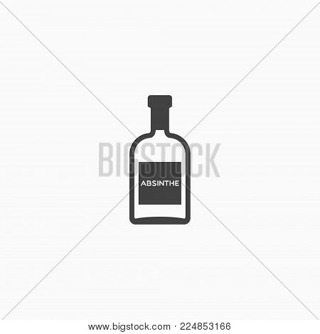 Bottle of absinthe monochrome icon on white background. Vector illustration. poster