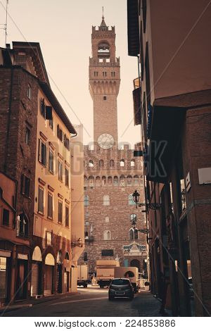 Bell Tower and street view in Florence Italy.