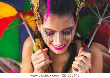 Brazilian Carnival. Woman wearing carnival costumes in Olinda, Pernambuco, Brazil.