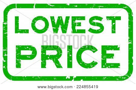 Grunge green lowest price square rubber seal stamp on white background