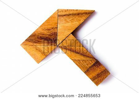Wood tangram puzzle in hammer shape on white background