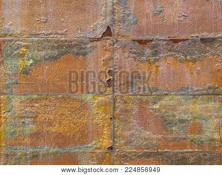 Rusted Metal Wall Panels. Naturally Textured And Patterned, Heavily Rusty Wall Panels With Bubbles,