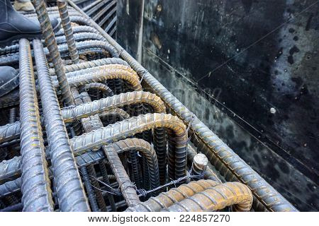 Congest reinforcing bar area of large concrete structure poster