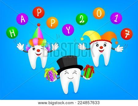 Funny cartoon tooth wearing  joker hat with ball and gift.  Dental care concept,  Illustration.