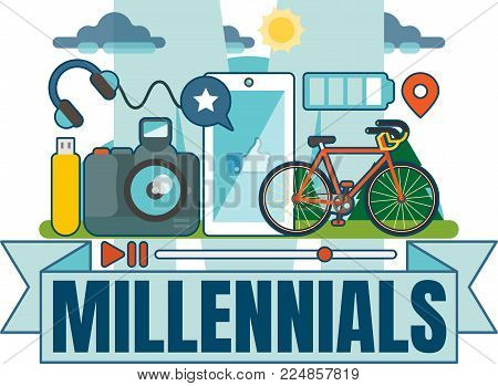 Illustrated Millennial vector badge with scene including photo camera, smartphone, USB drive, earphones, bike and sky.