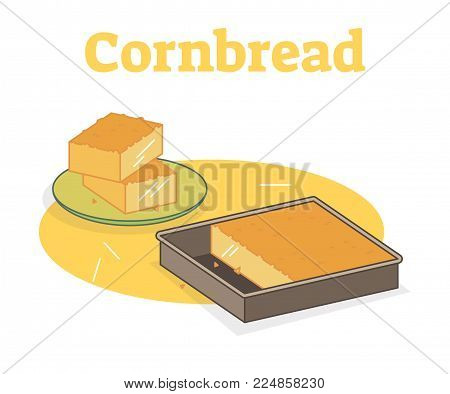 Cornbread flat vector illustration with pieces on a plate