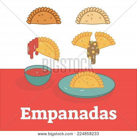 Empanadas flat vector illustration set showing filling and sauce