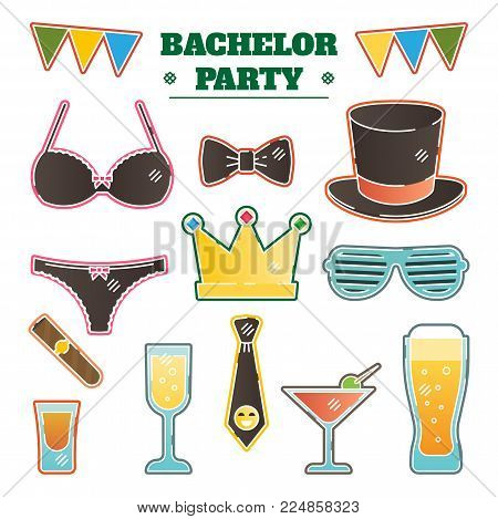 Bachelor party vector illustration kit with dressing, alcoholic drinks and fun party accessories