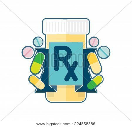 Prescription pharmaceutical medicine pills vector illustration with Rx symbol