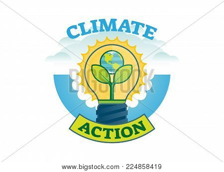 Climate action, climate change movement vector logo badge with earth, bulb and leaves.