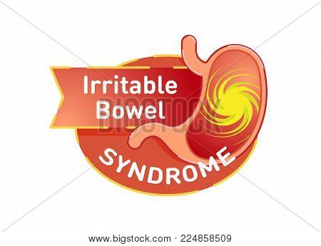 Irritable bowel syndrome (IBS) vector logo badge with stomach in red color