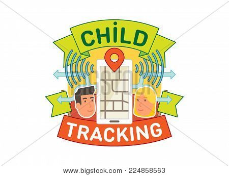 Child tracking concept vector badge illustration with location mobile app two faces and ribbon.