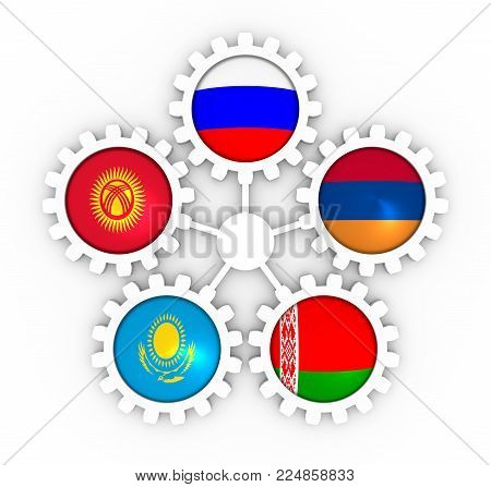 EAEU Eurasian Economic Union association of five national economies members flags on gear. Global teamwork. 3D rendering