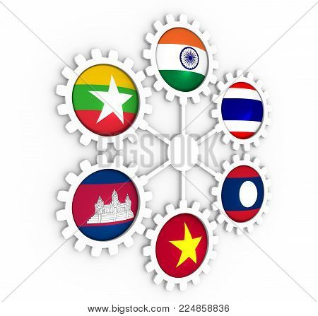 Mekong Ganga cooperation. Politic and economic union members flags on cog wheels. Global teamwork. 3D rendering