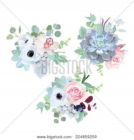 Delicate wedding seasonal flowers vector design bouquets. Rose, anemone, succulent, eucalyptus, agonis, brunia, black berry.Floral borders.Mint color composition.All elements are isolated and editable