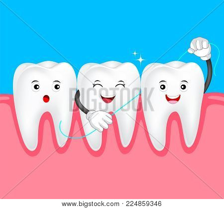 Cute cartoon tooth character with dental floss. Dental care concept. Human body part illustration.