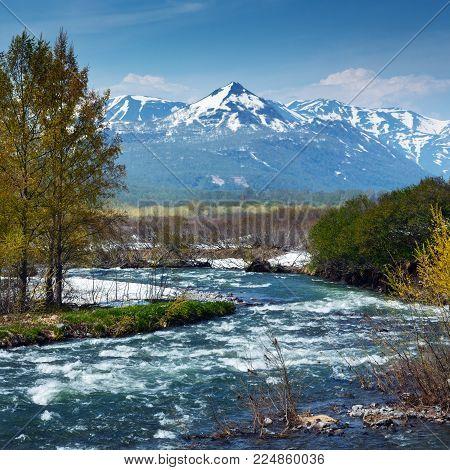 Scenery spring landscape of Kamchatka Peninsula: beautiful view of rugged mountain river Paratunka River on sunny weather. Eurasia, Russian Far East, Kamchatka Region.