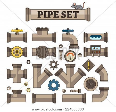 Illustrated Vector Pipe Set with various parts, joints and links. Good for gaming assets or infographics.