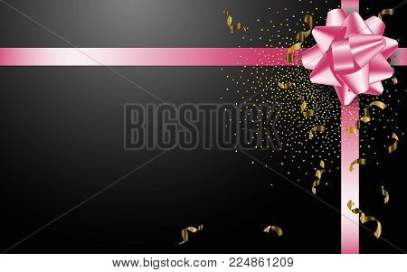 Pink Gift Bow On The Black Background. Stock Vector