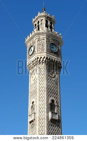 Big old clock on the the Clock Tower in the central Konak Square in Izmir, Turkey.