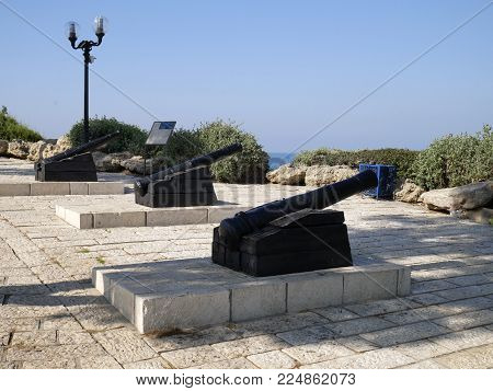 observation deck in Jaffa medieval cannons of the times of the Ottoman Empire