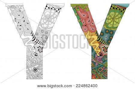 Hand-painted art design. Letter Y zentangle objects. Colored and outline set