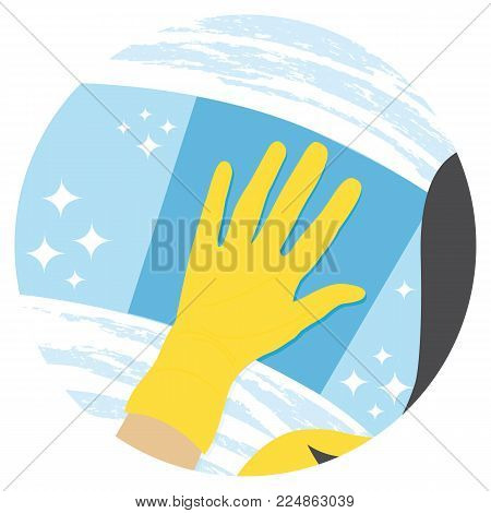 Woman cleaning window. Housekeeping service. Vector round icon.