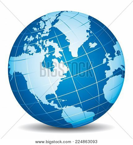 Beautiful Blue 3d Globe. America, Canada, Alaska And Atlantic View.