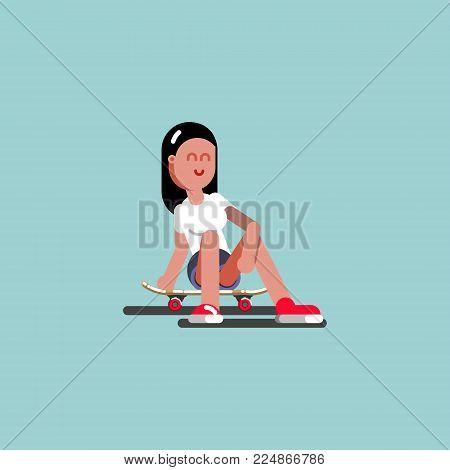 Girl skater siting on her board. Vector illustration, EPS 10