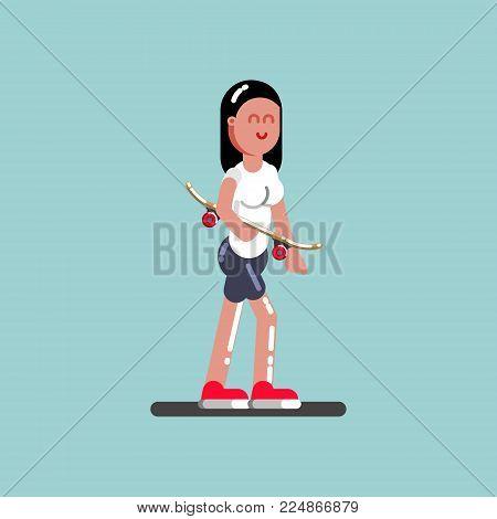Girl skater walking with board in hand. Vector illustration, EPS 10