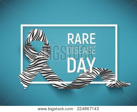 Poster for rare disease awareness day with symbol realistic ribbon, vector illustration