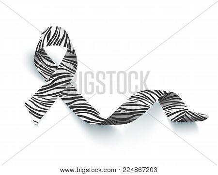 Symbol of rare disease awareness day, realistic ribbon with zebra-print, vector illustration