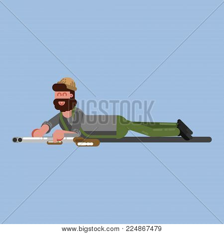 Hunter crawl to the target. Hunter isolated on color background. Hunters vector icon illustration.