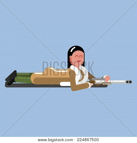 Hunter girl crawl to the target. Hunter isolated on color background. Hunters vector icon illustration.