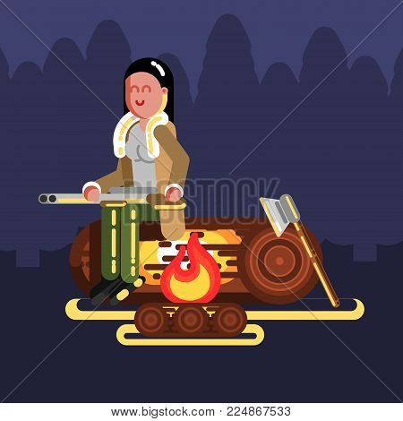 Hunter girl near fire. Hunters isolated on color background. Hunters vector icon illustration.