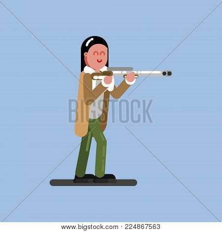 Hunter girl ready to shoot. Hunters isolated on color background. Hunters vector icon illustration.