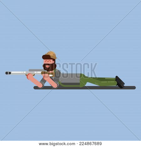 Hunter lies on the flor and ready to shoot. Hunters isolated on color background. Hunters vector icon illustration.